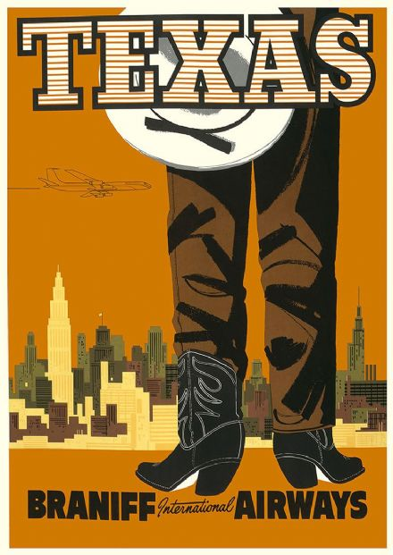 Texas. Vintage USA Travel Print/Poster. Sizes: A4/A3/A2/A1 (002704)